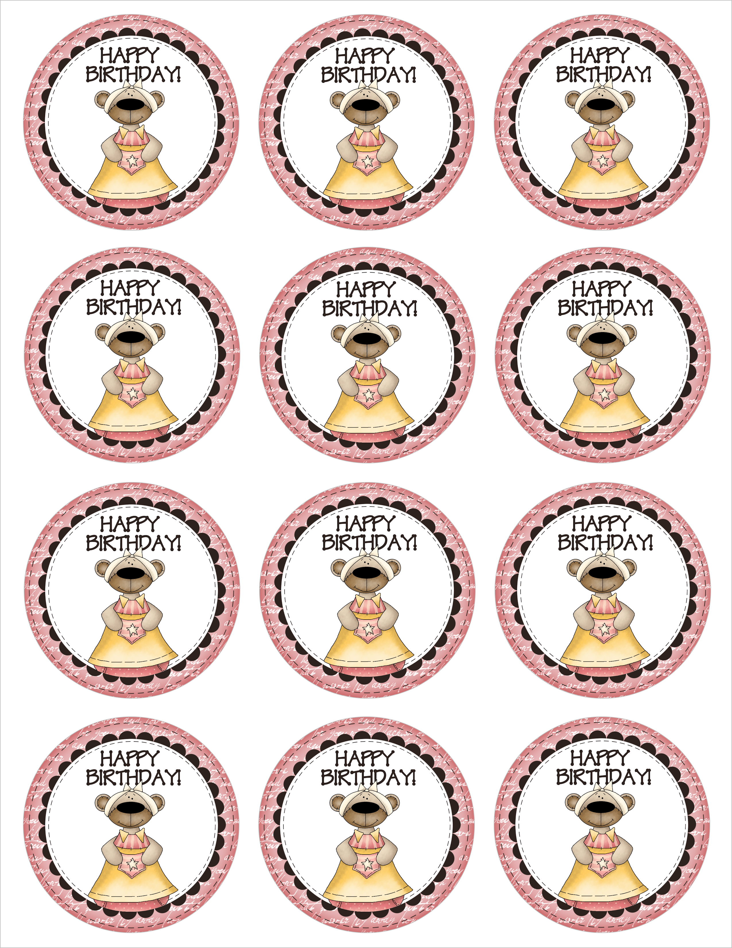 Happy Birthday Cupcake Toppers Printables ~ Birthday cupcake toppers free printables