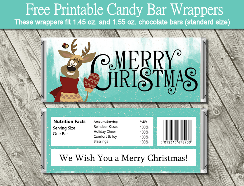 Satisfactory image with free printable christmas candy bar wrappers