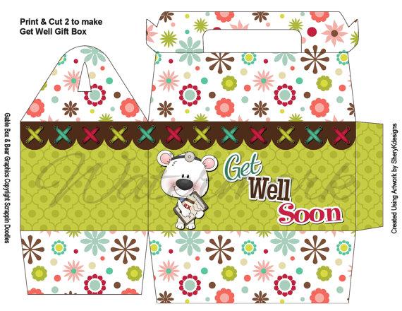 Printable craft tags printable gift boxes teddy bear get well printable gift gable box negle Images
