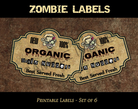 Zombie Labels Printable zombie labels