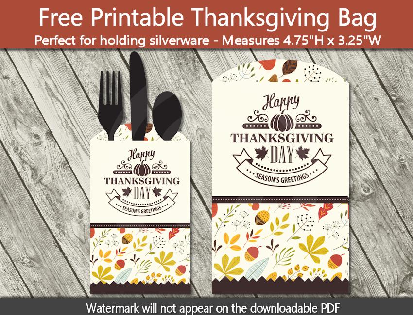 Printable Thanksgiving Silverware Pocket - Freebie
