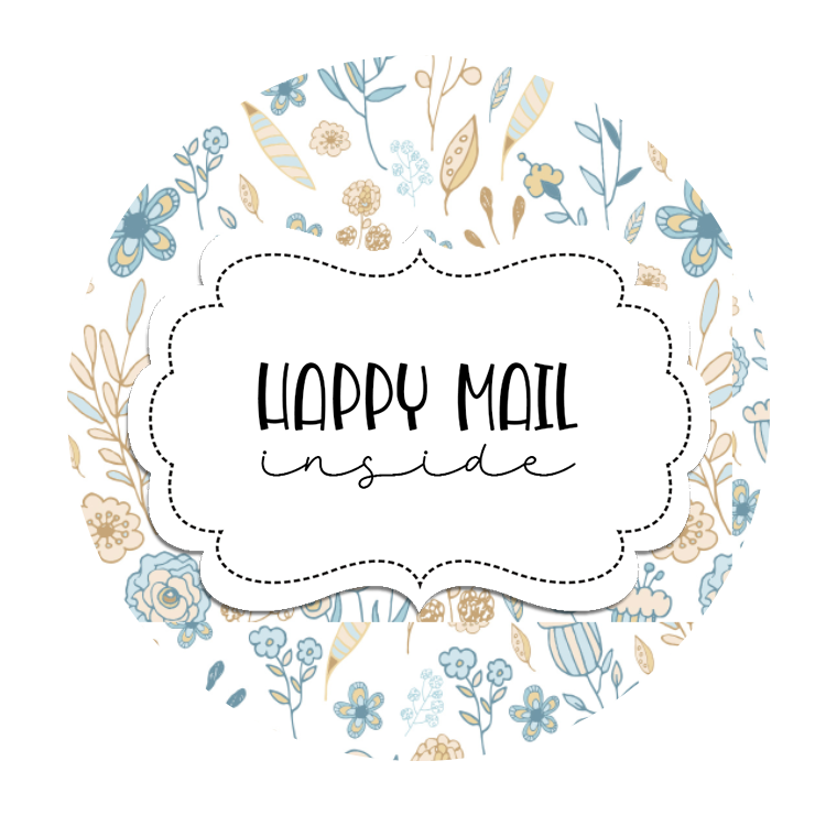 2inch-round-blue-tan-flowers-happy-mail-sticker