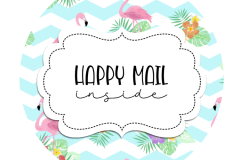 2inch-round-chevron-flamingo-happy-mail-sticker